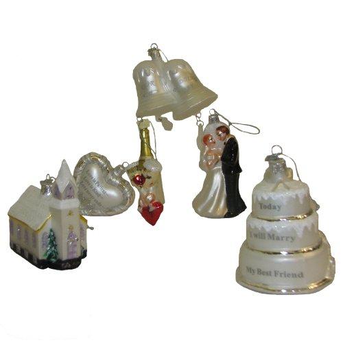 Kurt Adler Noble Gems Glass 6-Piece Wedding Ornament Gift Box Set, 3-Inch to 4.5-Inch