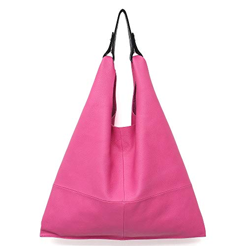 - Women's Handbag STEPHIECATH Genuine Leather Slouch Hobo Shoulder Bag Large Casual Handmade Tote Vintage Snap Shopping Bags (Hot Pink)