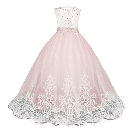 Style Princess Prom Gowns (NNJXD Girls Princess Lilac Pageant Long Dress Kids Tulle Prom Ball Gowns Size (170) 13-14 Years Pink)