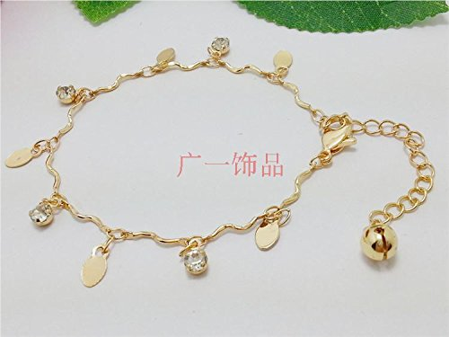 Studded Coin (Color retention rose gold coins do not fade diamond-studded women's student Miss Han Ban bracelet with diamond bracelet anklet)