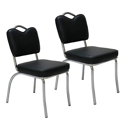Porthos Home NH002A BLK Retro 1950s Diner Style Dining Chairs with Handle Back and Chrome Finish Frame, Set of 2, Black, One Size