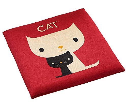 Cute Cartoon Animal Seat Cushion Soft Home Office Dining Chair Cushion (Red Cat) by Chair Cushion