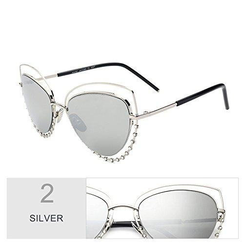 estilo de Rosa de Cat gafas bastidor Gafas gafas sol metálico dibujo TL Sunglasses color diamantes Silver mujer Mujeres Eye Oxw6qxWPT4