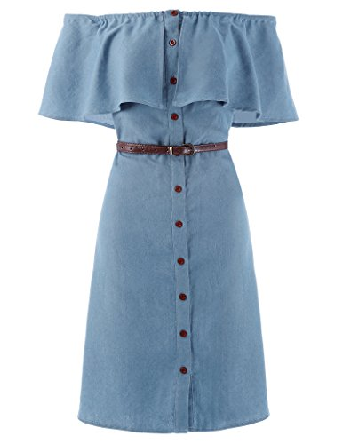- Kate Kasin Women Denim Ruffled Sleeve Casual Dresses L KK501-2