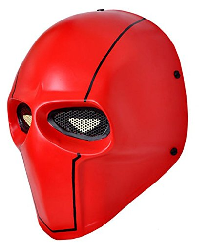(OSdream Red Wire Mesh Full Face Protection Paintball Skull Mask Cosplay)