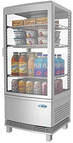 (KoolMore Countertop Refrigerator Display Case Commercial Beverage Cooler with LED Lighting - 3 cu. ft Capacity)