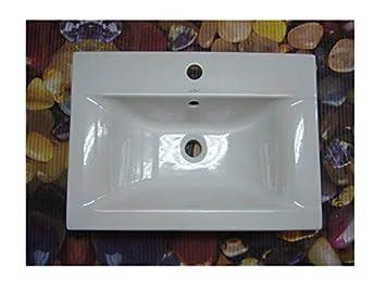 Céramique - Lavabo/vasque à encastrer 60 x 44 cm rectangulaire blanc ...