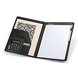 Samsill 71220 Slimline Padfolio, Leather-Look/Faux Reptile Trim, Writing Pad, Black