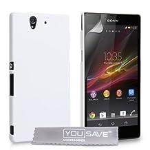 Sony Xperia Z Case White Hard Hybrid Cover