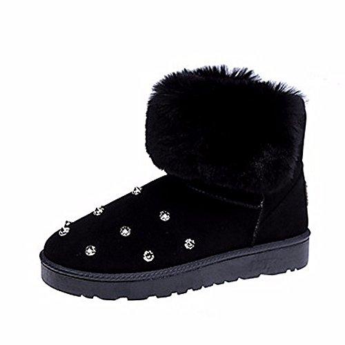 D'hiver Cristal us8 Neige cn39 Zhudj Vert Bottes amp; Chaussures Plat Bout Gris Partie Pour black Femmes uk6 Talon Occasionnels eu39 Armée Soir Noir Rond gqRIXvR