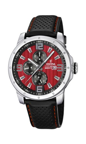 Festina Chrono Bike 2012 Men's Quartz Watch with Red Dial Analogue Display and Black Leather Strap F16585/7