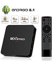 TV Box Android 8.1 Box superpow MXQ PRO MAX Smart TV Box 4GB RAM+32GB ROM Quad Core mit 2.4G Sprachfernbedienung/ 3D/ 4k / 2.4Ghz WiFi / 100 LAN / H.265, HDMI, USB*2 Smart TV Box