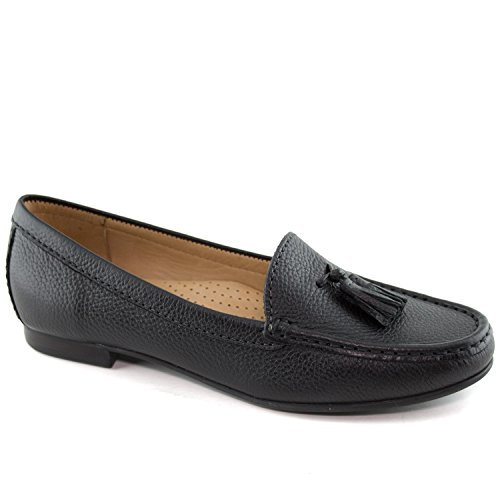 - Driver Club USA Women's Fashion Shoes Palm Beach Black Perforated Tassel Loafer Size 7 (More Size/Colors Available)
