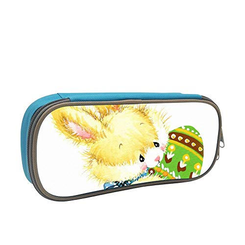 Rabbit Pencil case Pen Bag Makeup Pouch Student Large Capacity Zipper Multifunction Blue ()