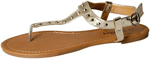 Womens Roman Gladiator Spike Studded T Strap Sandals Flats Shoes (9, Gold 2202)