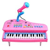 RuiyiF Kids Piano Keyboard 31 Keys with Microphone Electric Keyboard Musical Piano Toy for Girls Toddlers Beginner- 12 Inch