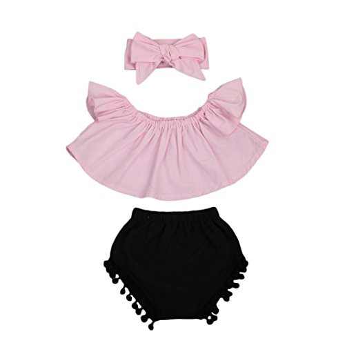 Imcute Cute Baby Girls Short Sleeve Blouse Tube Top+High Waist Pom Pom Short Pants (6-12 Months, 3pcs Pink) -