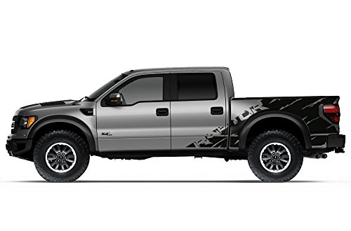 "Ford F-150 Raptor SVT 2010-2014 Crew Cab Standard Bed ""RAPTOR"" SHREDS V2 Graphics Kit 3M Vinyl Decal Wrap - Matte Black"