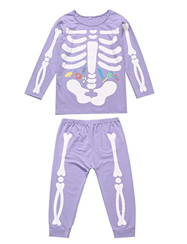 Little Fancy Unisex Boys Girls Kids Pajama Skeleton Costume Outfit Pants Set (6T) Purple -