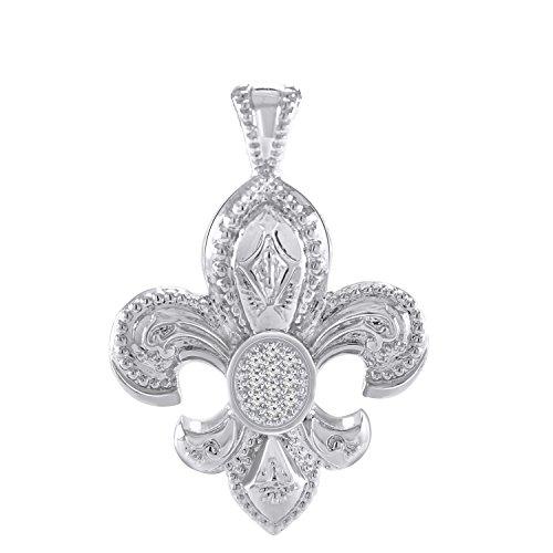 Pretty Jewels Genuine Diamond Sterling Silver 925 Fleur-de-Lis Pendant Necklace (0.13 Carat, I-J Color, I1-I2 ()