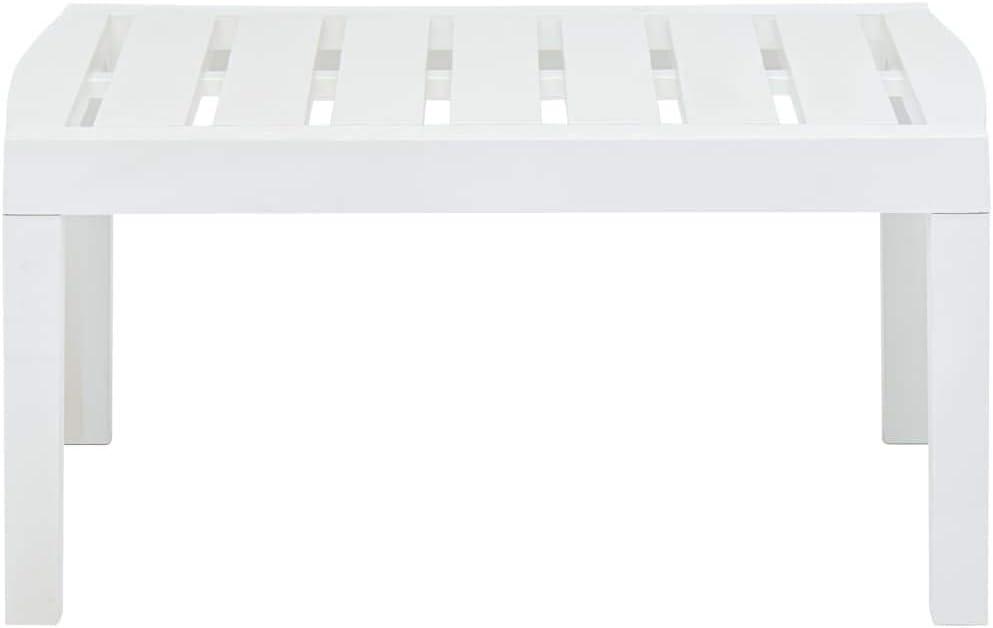 FAMIROSA Gartentisch Wei/ß 78/×55/×38 cm Kunststoff