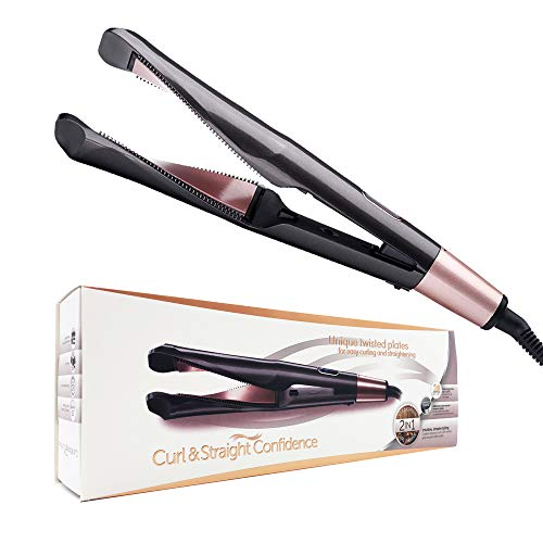Professional Ceramic Hair Straightener and Curler Iron 2 In 1,Twisted Flat Iron for Hair Styling Tools with Fast Heating-up, LCD Digital Temperature Display,Auto Shut-off, Dual Voltage For Travel