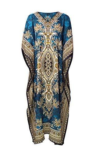 Rubina Kapoor Women's Looking Glam Oversized Maxi Kimono Kaftan Tunic Kaftan Dress Free Size Teal
