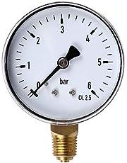 Qiman - Manómetro de 0 a 6 bares para agua, gas y presión de aire (1/4 pulgadas, NPT, montaje lateral)