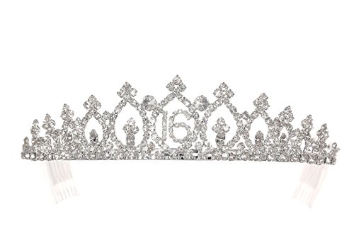 Birthday Party Rhinestone Crystal Tiara Crown - Sweet 16th Sixteenth -