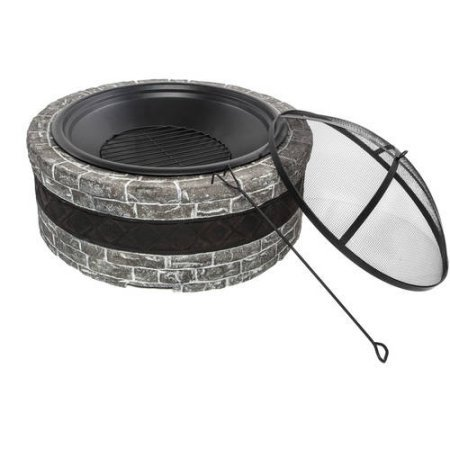 "35"" Cast Stone Fire Pit, Home Furniture, Patio Garden Fur..."