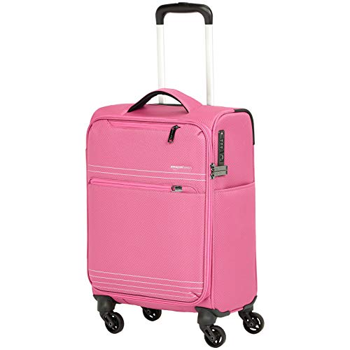 AmazonBasics Lightweight Softside Carry-On Rolling Spinner Suitcase Luggage - 22 Inch only, Pink