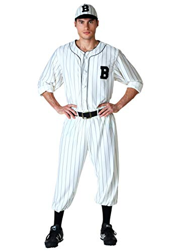 Adult Vintage Baseball Costume Small White -