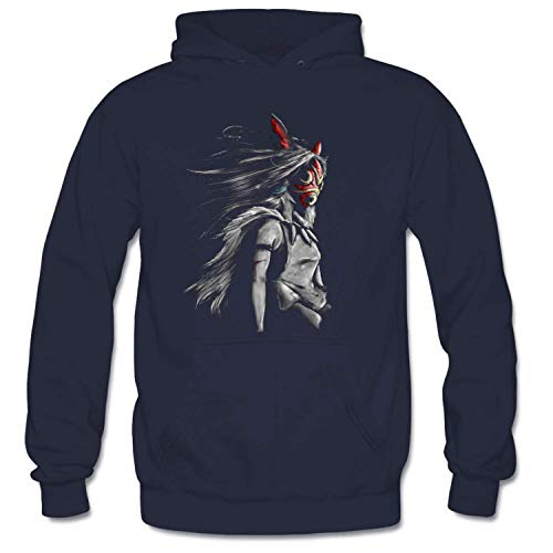 (Mononoke Wolf Anime Tra Digital Painting Fashion Fit Hoodie Pullover Hoodie Sweatshirt Tops Pullover Jacket Navy)