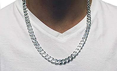 20 Verona Jewelers Italian 925 Solid Sterling Silver Mens Necklace,7.5MM 8MM 11MM 15MM Curb Cuban Chain Necklace for Men- Solid Heavy Link Thick Link Chain Necklace 22 30, 24