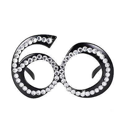 Golden Seven Happy Birthday Glasses 60th Birthday Party Eyeglasses 60-Year Birthday Party Props Eye Mask- Black: Toys & Games
