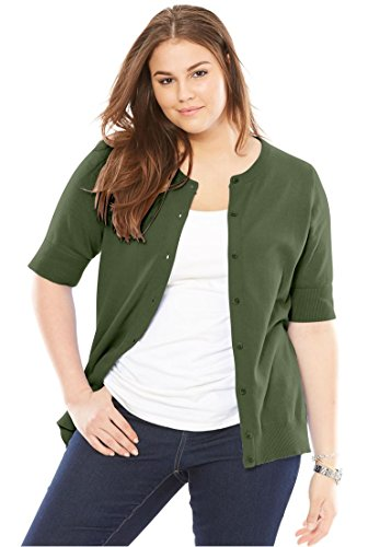 Women's Plus Size Perfect Elbow-Length Sleeve Cardigan by Woman Within