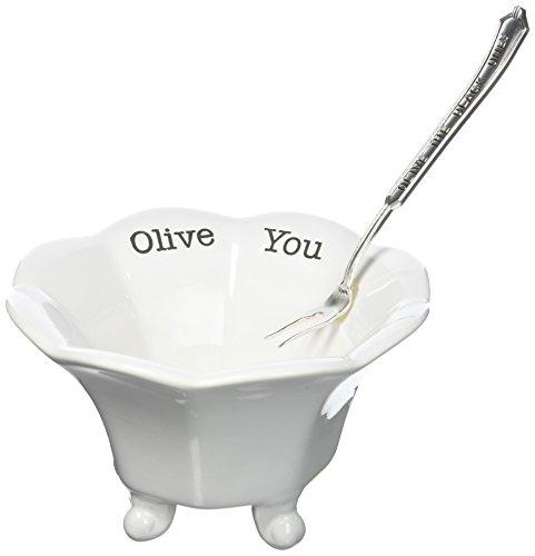 Mud Pie 4851027B Bowl, Black Olives, White