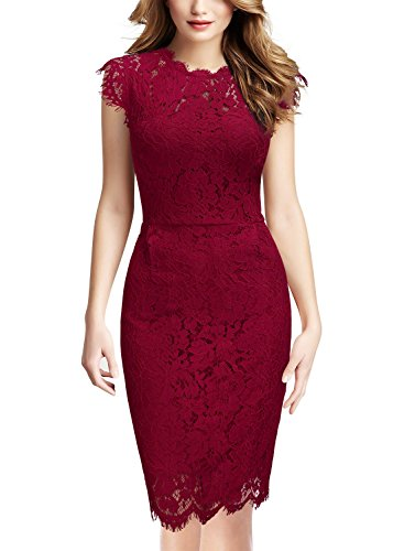 Miusol Women's Retro Floral Lace Slim Evening Cocktail Mini Dress (Small, Red)