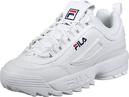 285ee7350f4 Fila Womens White Disruptor Low Trainers  Amazon.co.uk  Shoes   Bags