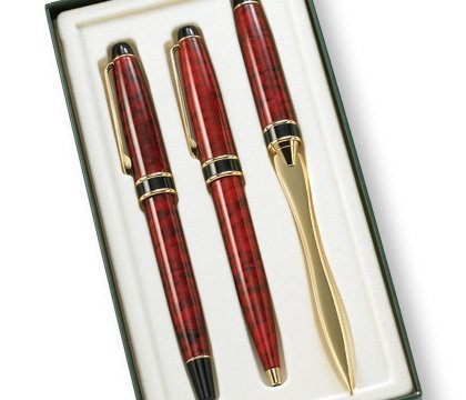 (Aeropen International GS-3002 3 Pcs. Set Red Marble BP RB and Letter Opener with Gift Box)