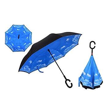 HEXCGHF Paraguas Paraguas Plegable Reversible del Doble de la Lluvia del Paraguas del revés Impermeable de