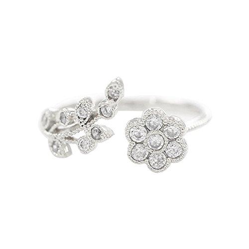 Rhinestone Flower Fashion Ring (Wintefei Graceful Flower Branch Rhinestone Adjustable Open Finger Ring Women Jewelry Gift - Silver)