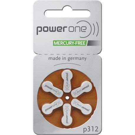 Power One Mercury Free Hearing Aid Batteries Size 312, 2 Pack of 60 Batteries (120 Batteries) by Power One