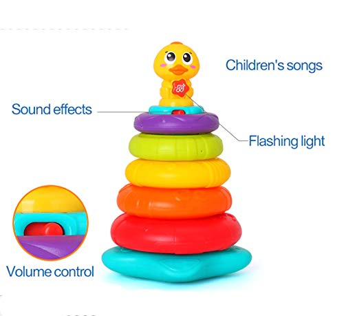 GetBest Rainbow Stacking Rings for Kids with Sounds and Lights, Multicolor
