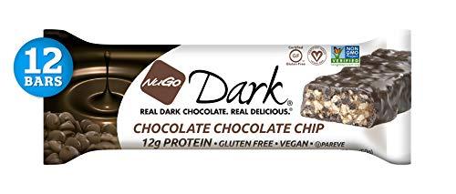 NuGo Dark Chocolate Chocolate Chip, 12g Vegan Protein, 200 Calories, Gluten Free, 12 Count