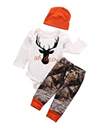 Zekky Newborn Baby Boy Deer Printed Grey Tshirt Top Camouflage Pants Hat 3Pcs