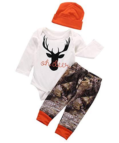 Geagodelia Set di Abbigliamento per Bambini Neonato 3 Pezzi Completi Pagliaccetto Pantaloni Cappello Autunno Inverno 1