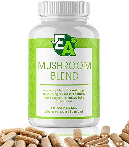 6 Mushroom Powder Blend Supplement - 1000mg Capsules with Cordyceps, Lions Mane, Reishi, Turkey Tail, Shiitake, and King Trumpet - Support Your Overall Health and Immune System (60 Count)