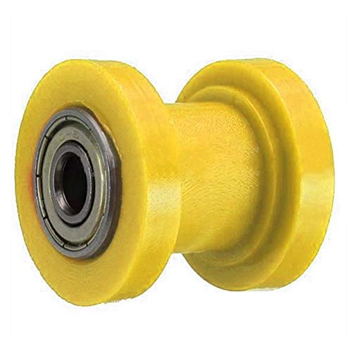 Slider Chain Pulley Roller Tensioner Wheel Guide Pit Dirt 8mm 10mm Motorcycle Bike(8mm,Yellow, 8mm)