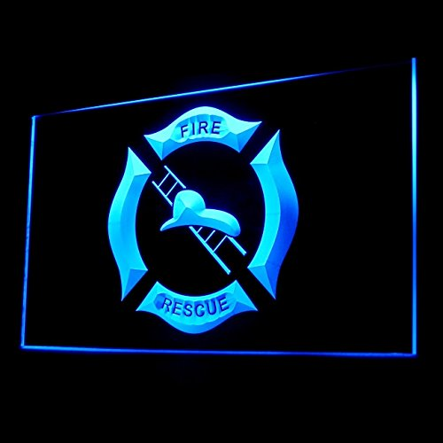 Firefighter Helmet Ladder Protective Equipment Display LED Light Sign Color Blue (Firefighter Display compare prices)